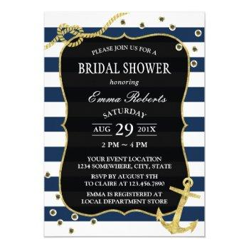 gold anchor nautical navy stripes bridal shower invitation