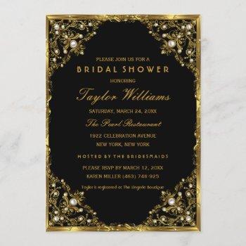 gold black pearl vintage glamour bridal shower invitation