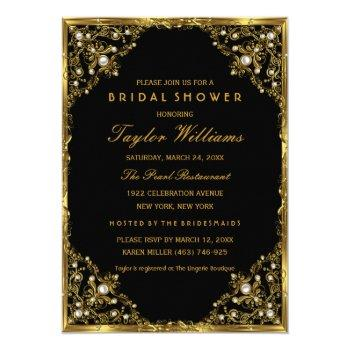gold black pearl vintage glamour bridal shower invitation