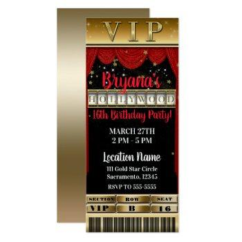 gold black red hollywood birthday party vip ticket invitation