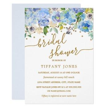 gold blue floral watercolor bridal shower invite