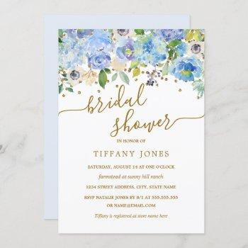 gold blue floral watercolor bridal shower invite