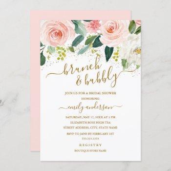 gold blush floral brunch and bubbly bridal shower invitation