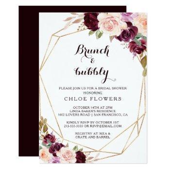 gold burgundy floral brunch & bubbly bridal shower invitation