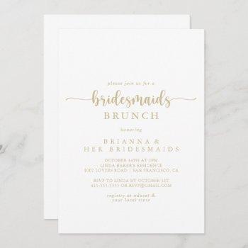 gold calligraphy bridesmaids brunch shower  invitation