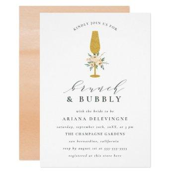 gold champagne & floral bouquet brunch & bubbly invitation