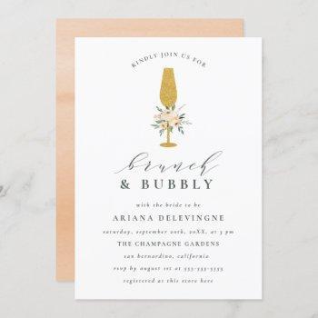 gold champagne & floral bouquet brunch & bubbly invitation