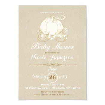 gold cinderella carriage kraft modern baby shower invitation