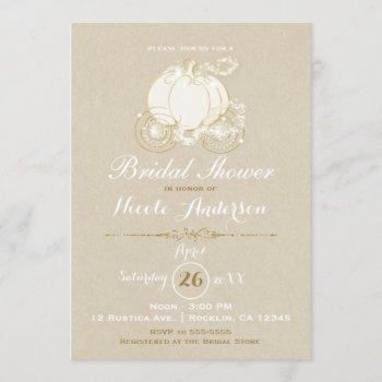 gold cinderella carriage kraft modern bridal invitation