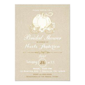 gold cinderella carriage kraft modern bridal invitation