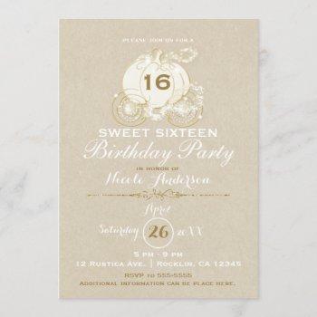 gold cinderella carriage kraft sweet 16 birthday invitation