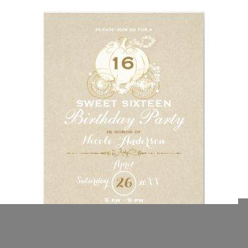 gold cinderella carriage kraft sweet 16 birthday invitation