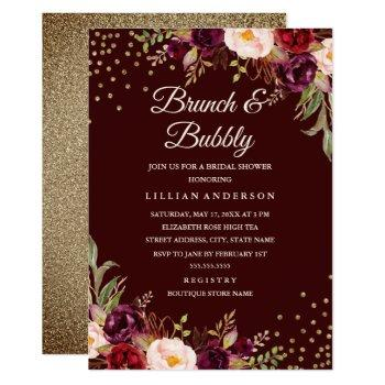 gold confetti burgundy floral brunch and bubbly invitation