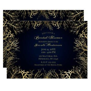 gold & dark navy blue elegant coral bridal shower invitation