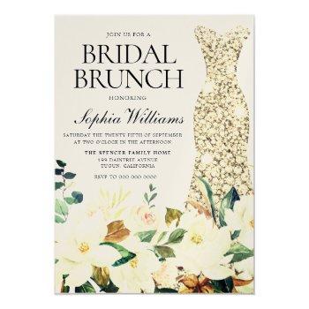 gold dress floral bridal shower brunch invitation