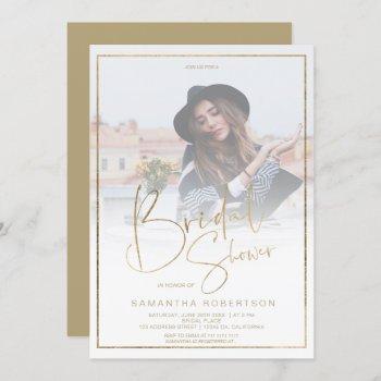gold elegance calligraphy photo bridal shower invitation