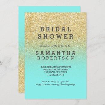 gold faux glitter teal ocean chic bridal shower invitation