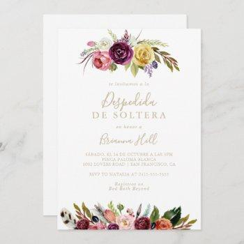 gold feather boho floral spanish bridal shower   invitation