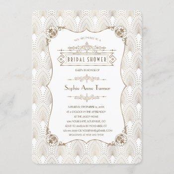 gold fleur-de-lis great gatsby 20s bridal shower invitation