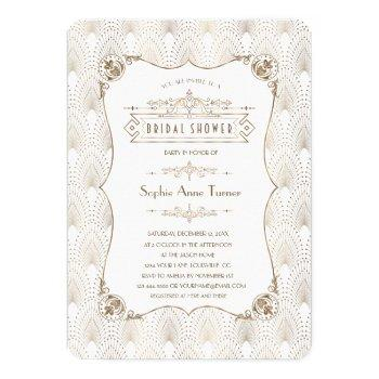 gold fleur-de-lis great gatsby 20s bridal shower invitation