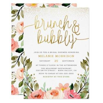 gold floral brunch & bubbly bridal shower invitation