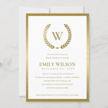 gold floral laurel wreath bridal shower invite