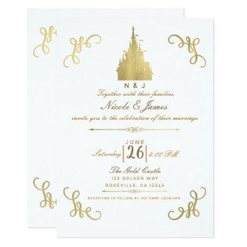 gold foil princess castle storybook wedding invitation