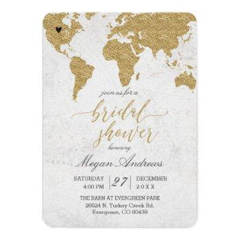gold foil world map bridal shower invitation