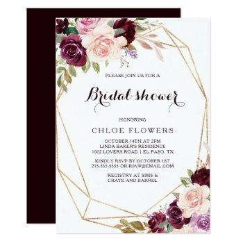 gold geometric blush burgundy floral bridal shower invitation