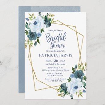 gold geometric dusty blue floral bridal shower invitation