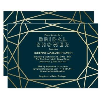 gold geometric gem sophisticated bridal shower invitation