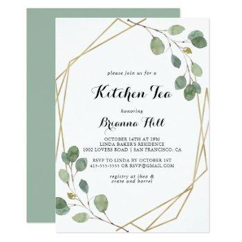 gold geometric kitchen tea bridal shower invitation