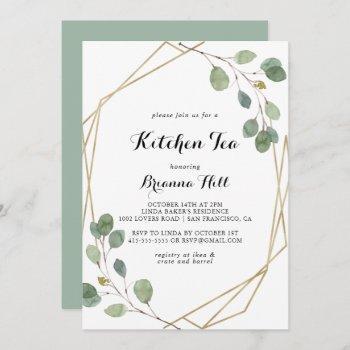 gold geometric kitchen tea bridal shower invitation