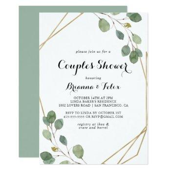 gold geometric modern calligraphy couples shower invitation