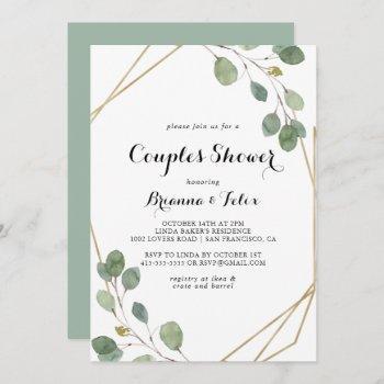 gold geometric modern calligraphy couples shower invitation