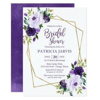 gold geometric purple floral bridal shower invitation