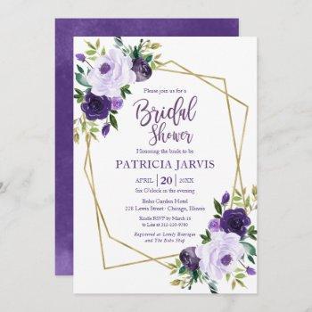 gold geometric purple floral bridal shower invitation