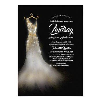 gold glitter elegant dress black bridal shower invitation