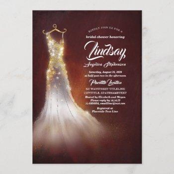 gold glitter elegant dress burgundy bridal shower invitation