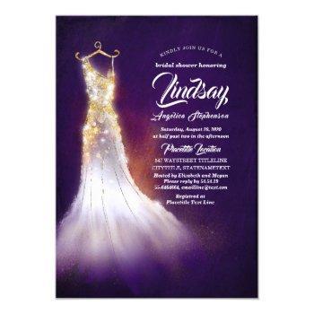 gold glitter elegant dress purple bridal shower invitation