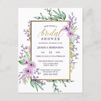 gold glitter purple flowers script bridal shower invitation postcard