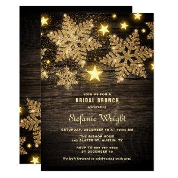 gold glitter snowflakes rustic bridal brunch invitation