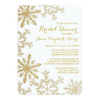 gold glitter snowflakes winter bridal shower invitation