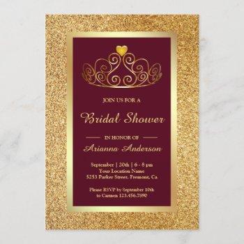 gold glitter tiara princess burgundy bridal shower invitation
