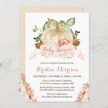 gold glitters pumpkin floral fall baby shower invitation