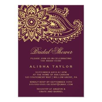 gold indian paisley bridal shower invitation