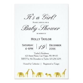 gold jungle animals baby shower invitation