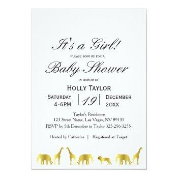 gold jungle baby shower invitation