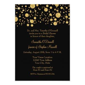 gold leaf glitter confetti dots bridal shower invitation