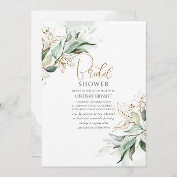 gold leaves greenery romantic cute bridal shower invitation